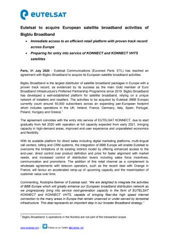 Eutelsat to acquire European satellite broadband activities of Bigblu Broadband