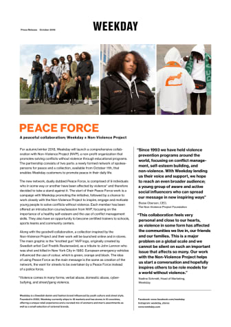 A peaceful collaboration; Weekday x Non-Violence Project