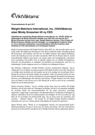 Weight Watchers International, Inc. (ViktVäktarna) utser Mindy Grossman till ny CEO