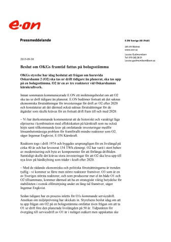 Beslut om OKGs framtid fattas på bolagsstämma