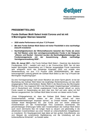 Fonds Gothaer Multi Select mit 5 Morningstar Sternen bewertet