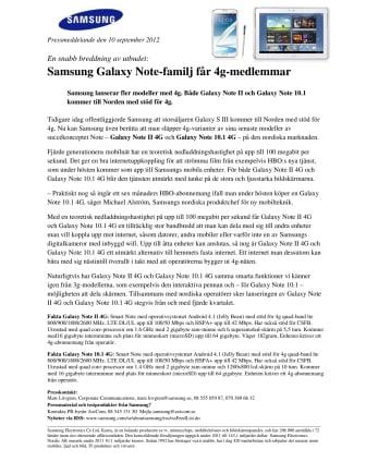 En snabb breddning av utbudet: Samsung Galaxy Note-familj får 4g-medlemmar