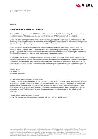 Divestiture of the Visma BPO division