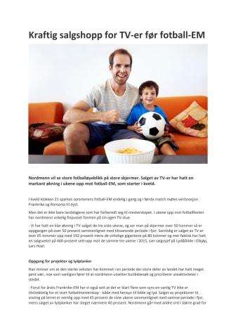 Kraftig salgshopp for TV-er før fotball-EM