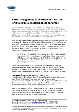 Ford i nytt globalt hållbarhetsinitiativ för arbetsförhållanden och miljöpåverkan