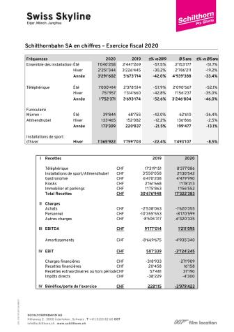 Annexe  communiqué de presse: Chiffres exercice fiscal 2020