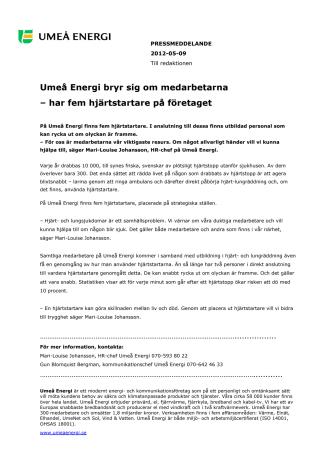 Umeå Energi bryr sig om medarbetarna  – har fem hjärtstartare på företaget