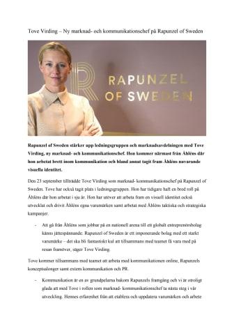 Tove Virding – Ny marknad- och kommunikationschef på Rapunzel of Sweden