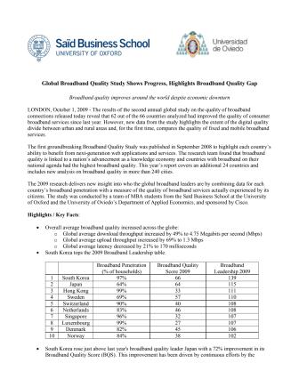 Broadband Quality Study 2009