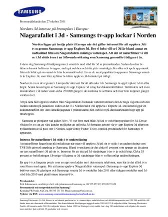 Niagarafallet i 3d - Samsungs tv-app lockar i Norden