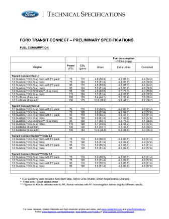 FORD TRANSIT CONNECT - TEKNISKE SPECIFIKATIONER
