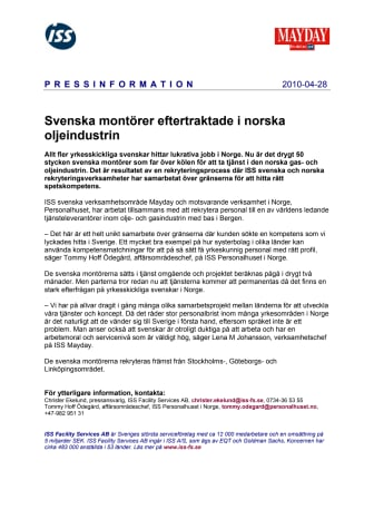 Svenska montörer eftertraktade i norska oljeindustrin