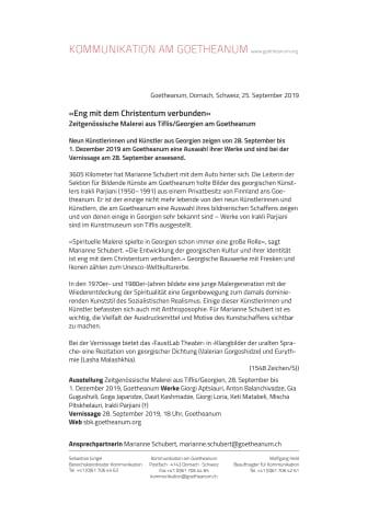«Eng mit dem Christentum verbunden». Zeitgenössische Malerei aus Tiflis/Georgien am Goetheanum
