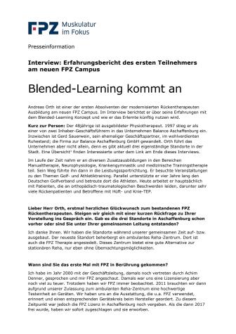 Blended-Learning kommt an -  Erster Teilnehmer des neuen FPZ Campus im Interview