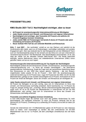KMU-Studie 2021 Teil 2: Nachhaltigkeit wichtiger, aber zu teuer