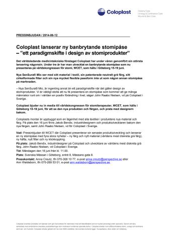 """Pressinbjudan: Coloplast lanserar ny banbrytande stomipåse – """"ett paradigmskifte i design av stomiprodukter"""""""