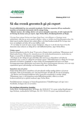 Så ska svensk greentech gå på export