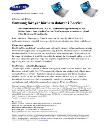 Chronos och Ultra: Samsung förnyar bärbara datorer i 7-serien