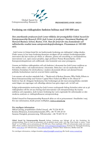 Forskning om riskkapitalets funktion belönas med 100 000 euro