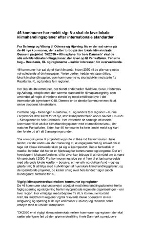 Pressemeddelelse fra DK2020
