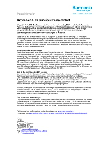 Barmenia-Azubi als Bundesbester ausgezeichnet