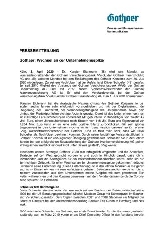Gothaer: Wechsel an der Unternehmensspitze