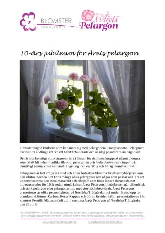 10-års jubileum för Årets pelargon