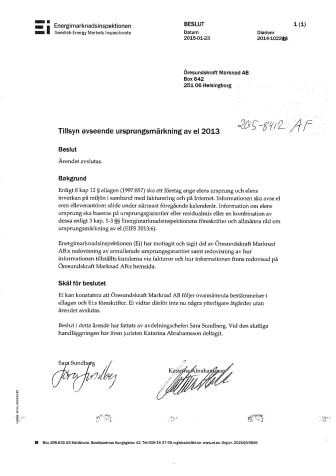Tillsyn avseende ursprungsmärkning av el 2013