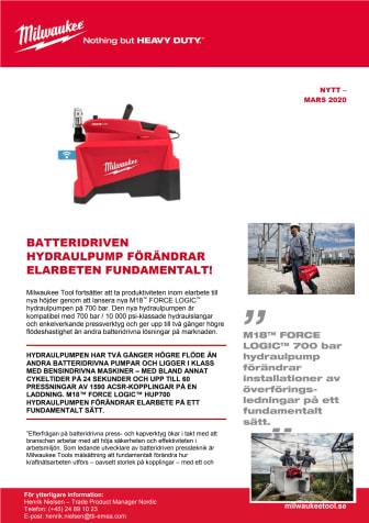 BATTERIDRIVEN HYDRAULPUMP FÖRÄNDRAR ELARBETEN FUNDAMENTALT!