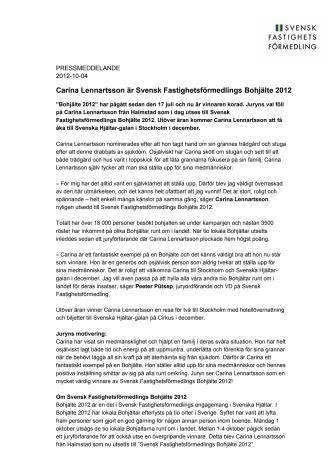Carina Lennartsson är Svensk Fastighetsförmedlings Bohjälte 2012