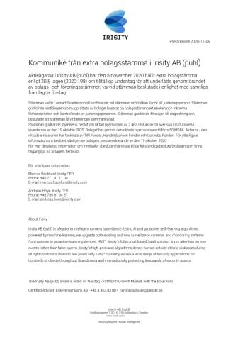 Kommuniké från extra bolagsstämma i Irisity AB (publ)