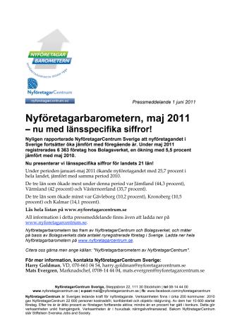Nyföretagarbarometern, maj 2011 – nu med länsspecifika siffror!