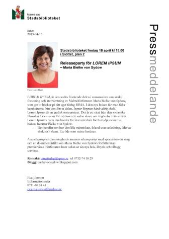 Stadsbiblioteket i Malmö: Releaseparty för LOREM IPSUM med författaren Maria Bielke von Sydow