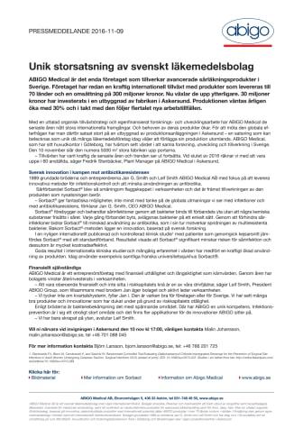 Unik storsatsning av läkemedelsbolag i Sverige