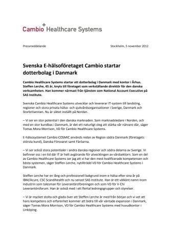 Svenska E-hälsoföretaget Cambio startar dotterbolag i Danmark