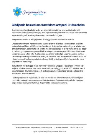 Glädjande besked om framtidens ortopedi i Hässleholm