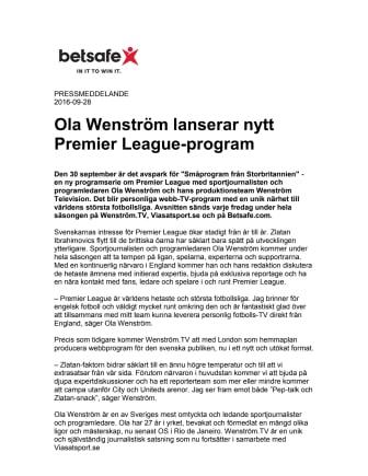 Ola Wenström lanserar nytt Premier League-program