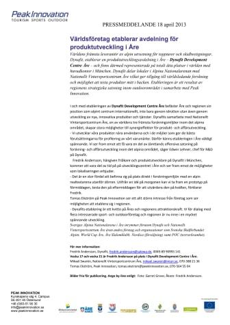 Världsföretag etablerar avdelning för produktutveckling i Åre