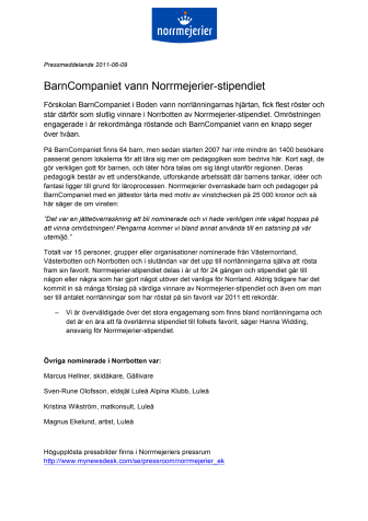 BarnCompaniet vann Norrmejerier-stipendiet