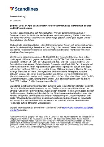 Summer Deal: im April das Fährticket für den Sommerurlaub in Dänemark buchen und 20 Prozent sparen