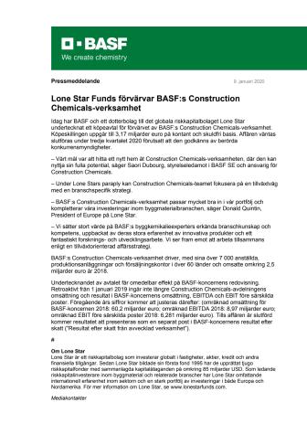 Lone Star Funds förvärvar BASF:s Construction Chemicals-verksamhet