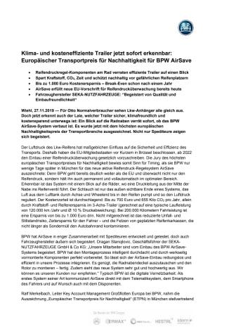 Klima- und kosteneffiziente Trailer jetzt sofort erkennbar: Europäischer Transportpreis für Nachhaltigkeit für BPW AirSave
