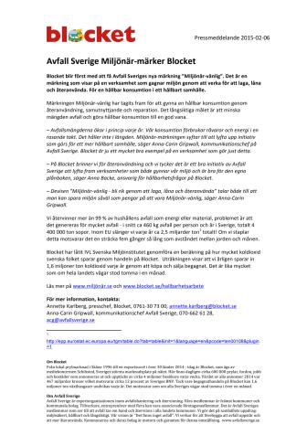 Avfall Sverige Miljönär-märker Blocket