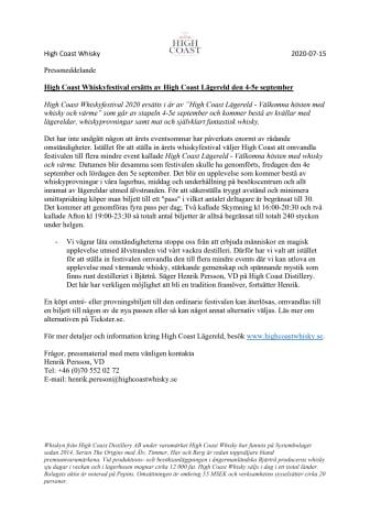 High Coast Whiskyfestival ersätts av High Coast Lägereld den 4-5e september