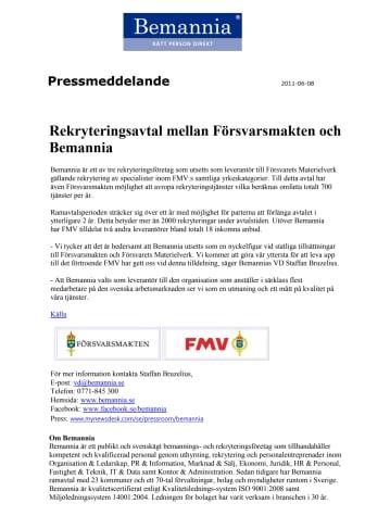 Rekryteringsavtal mellan Försvarsmakten och Bemannia