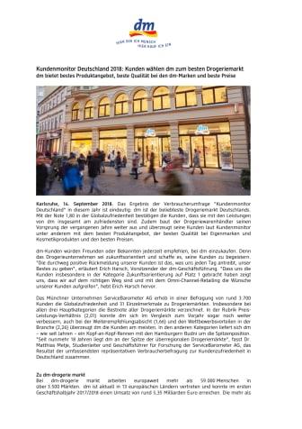 Pressemitteilung: Kundenmonitor Deutschland 2018: Kunden wählen dm zum besten Drogeriemarkt