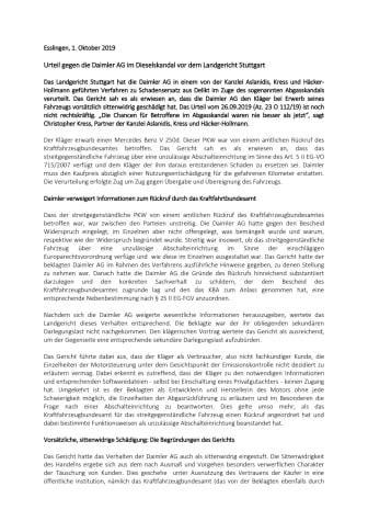 Urteil gegen die Daimler AG im Dieselskandal vor dem Landgericht Stuttgart