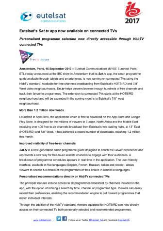 Eutelsat's Sat.tv app now available on connected TVs