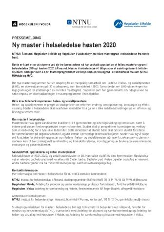 Ny master i helseledelse høsten 2020