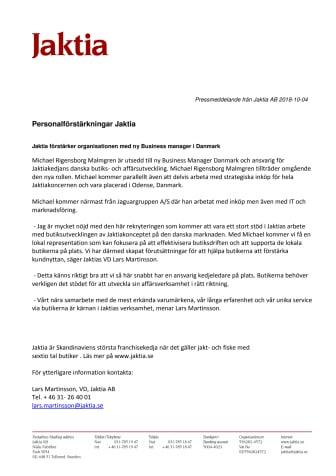 Jaktia förstärker organisationen med ny Business manager i Danmark